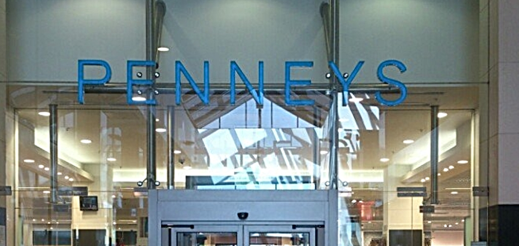 Penneys logo on glass above shop door