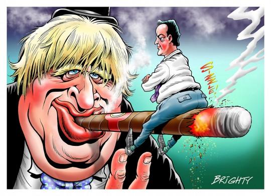 Boris Johnson with cigar and David Cameron on the cigar